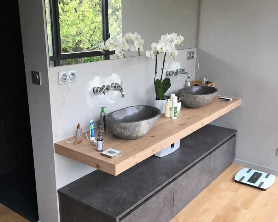 Meuble salle de bain design, plateau massif et rangement
